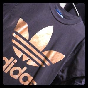 Tops - Adidas women's T-shirt black and gold size M'